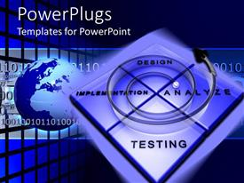 PowerPlugs: PowerPoint template with four squares with design, implementation, testing and analyze words and spiral on top of the square and Globe in the background