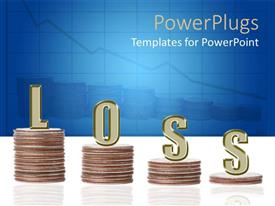 PowerPoint template displaying four stack of coins descending depicting financial loss