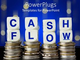 I love this slide deck having four stacks of coins with CASH FLOW text in dies