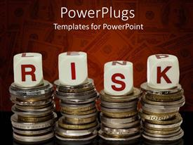 PowerPoint template displaying four stacks of coins with lettered red and white dice spelling risk