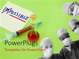 PowerPlugs: PowerPoint template with four surgeons with masks working on a green background