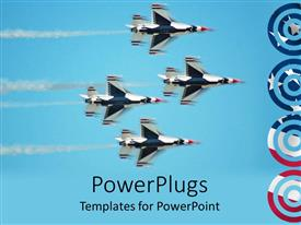 PowerPlugs: PowerPoint template with four thunder bird jet planes moving fast in the air