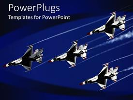 PowerPlugs: PowerPoint template with four thunder bird jet planes on a dark blue background