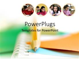 PowerPlugs: PowerPoint template with four tiles with children in a classroom on a blurry background