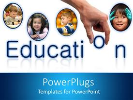 PowerPoint template displaying four tiles with children pictures and a hand with text education