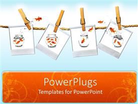 PowerPlugs: PowerPoint template with four tiles clipped on a rope with gold fishes jumping
