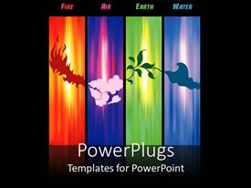 PowerPlugs: PowerPoint template with four tiles depicting the four elements of the world