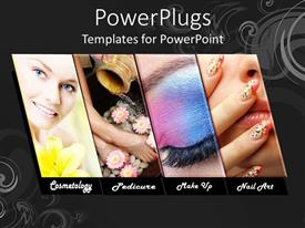 PowerPlugs: PowerPoint template with four tiles with different make up procedures and a smiling face