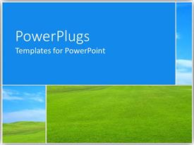 PowerPlugs: PowerPoint template with four tiles with green grass and clear blue sky
