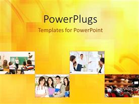 PowerPlugs: PowerPoint template with four tiles showing different aspects of an educational career path