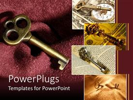 PowerPoint template displaying four tiles showing different types of gold colored keys