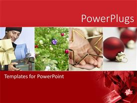 PowerPlugs: PowerPoint template with four tiles showing man holding gifts and christmas ornaments and tree