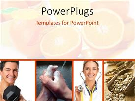 PowerPoint template displaying four tiles showing a theme of good health and some cut oranges