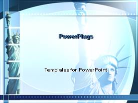 PowerPlugs: PowerPoint template with four tiles with the statue of liberty all in blue