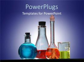 PowerPlugs: PowerPoint template with four various lab test tubes, vials, containers with colorful chemical liquids