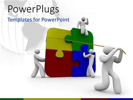 PowerPoint template displaying four white 3D characters arranging multi colored puzzle pieces