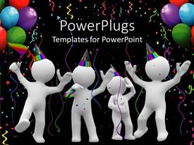 PowerPlugs: PowerPoint template with four white 3D figures celebrating with party hats, colorful ribbons and balloons on black background