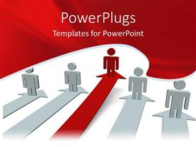 PowerPlugs: PowerPoint template with four white 3D human characters on arrows and a red one leading