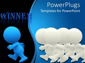 PowerPlugs: PowerPoint template with four white colored 3D Characters following a blue one