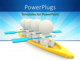 PowerPoint template displaying four white figures with blue oars in gold canoe