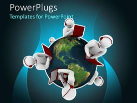 PowerPlugs: PowerPoint template with four white figures with headphones and laptops on earth globe