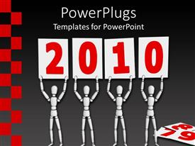 PowerPoint template displaying four white figures usher in 2010 with number signs on gray background