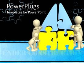 PowerPlugs: PowerPoint template with four white human figures arranging a yellow and blue puzzle