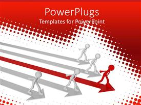 PowerPlugs: PowerPoint template with four white men on white arrows and red man on red arrow