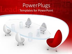 PowerPlugs: PowerPoint template with four white and one red chair arranged around glass conference table, business