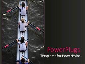 PowerPlugs: PowerPoint template with four women in a canoe with paddles on water women's rowing team