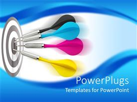 PowerPlugs: PowerPoint template with four yellow, blue, black and pink darts hitting the center of a darts board