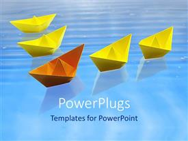 PowerPoint template displaying four yellow paper boats on water with an orange one leading them