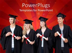 PowerPoint template displaying four young adults in graduation gowns on a red background