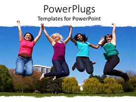 PowerPlugs: PowerPoint template with four young ladies jumping into the air in jubilation