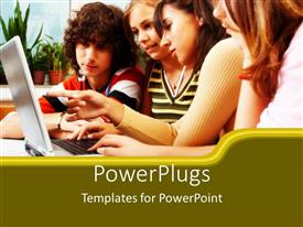 PowerPlugs: PowerPoint template with four youths learning together from a laptop in a schol setting