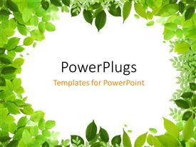 PowerPlugs: PowerPoint template with frame with beautiful green leaves