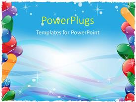 PowerPlugs: PowerPoint template with frame with colorful balloons and ribbons
