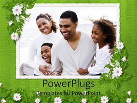 PowerPlugs: PowerPoint template with frame with depiction of happy African American family with mom, dad, boy and girl framed by white flowers and patterned green background