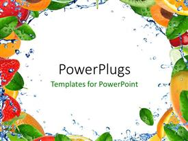PowerPlugs: PowerPoint template with frame with fresh healthy fruit and splashing water