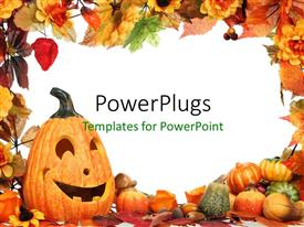 PowerPlugs: PowerPoint template with frame with Halloween decoration using pumpkins and colorful leaves