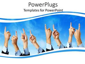 PowerPlugs: PowerPoint template with frame of hands raising index finger pointing upwards