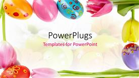 PowerPoint template displaying a number of easter eggs with colorful background