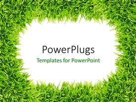 PowerPlugs: PowerPoint template with frame surrounded with green grass depicting nature