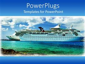 PowerPoint template displaying framed cruise ship on sea water with white clouds on blue sky