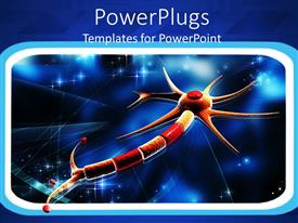 PowerPlugs: PowerPoint template with framed orange and red neuron on glowing blue background