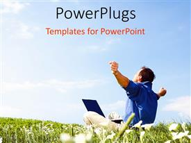 PowerPlugs: PowerPoint template with a person chilling out in the crops