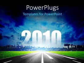 PowerPlugs: PowerPoint template with freeway leading to mega city with light glowing in sky