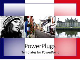 PowerPoint template displaying french flag depictions of france