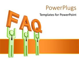 PowerPlugs: PowerPoint template with frequently asked questions concept using humanoids with orange color