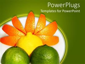 PowerPoint template displaying fresh fruits, orange, lemon, lime, forming sun with rays over green field